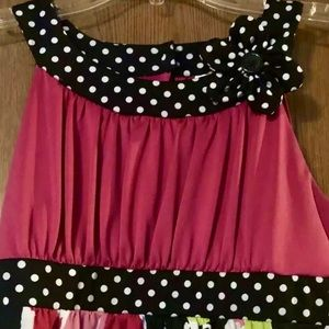 Cato Shirts & Tops - Cato girls large floral and polka dot top